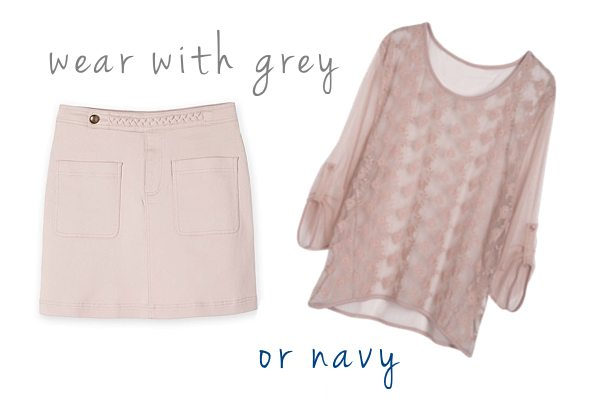 blush pink with grey or navy
